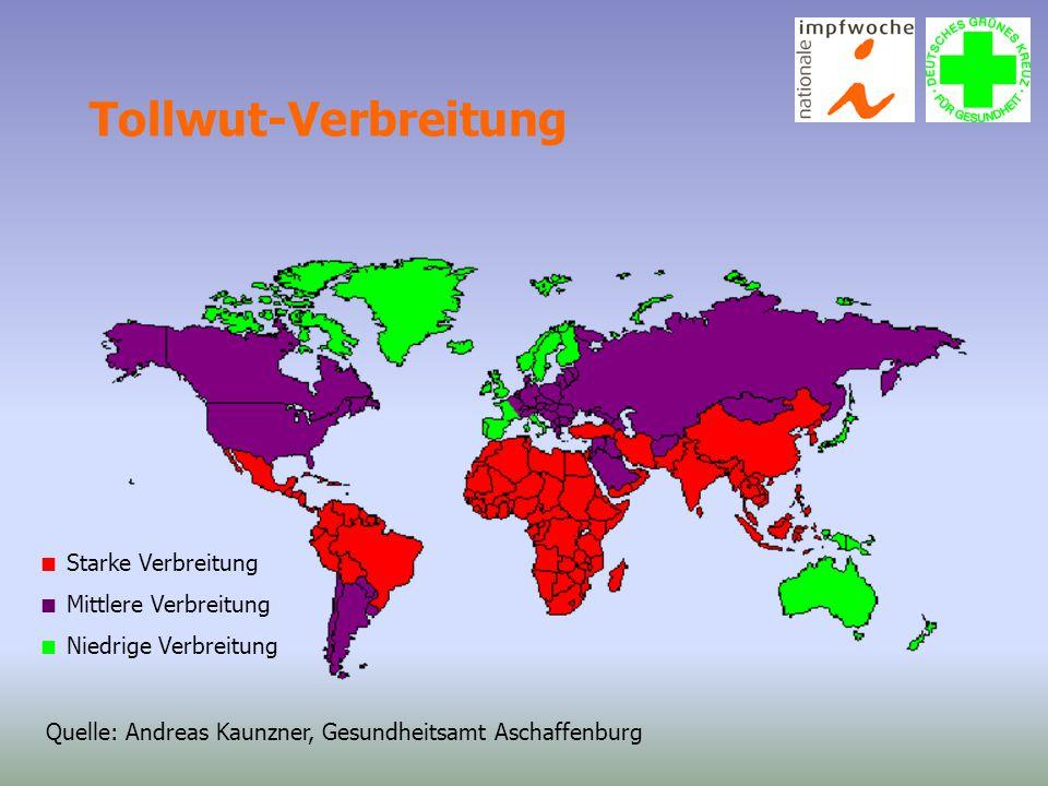 Tollwut-Verbreitung  Starke Verbreitung  Mittlere Verbreitung  Niedrige Verbreitung Quelle: Andreas Kaunzner, Gesundheitsamt Aschaffenburg