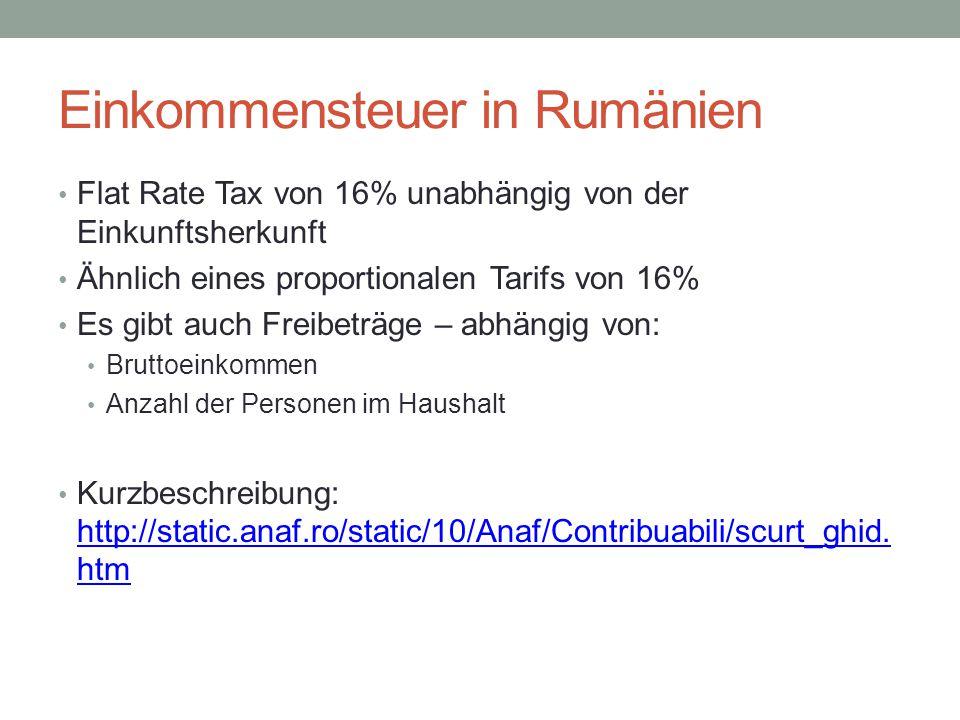 Einkommensteuer in Rumänien Flat Rate Tax von 16% unabhängig von der Einkunftsherkunft Ähnlich eines proportionalen Tarifs von 16% Es gibt auch Freibe