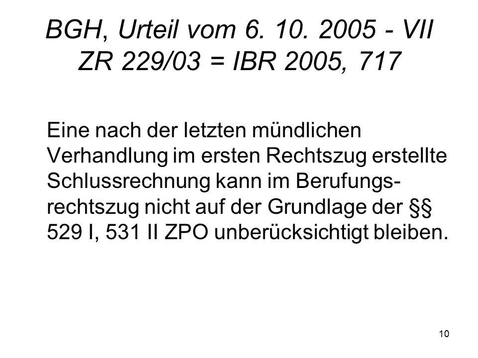 10 BGH, Urteil vom 6. 10.