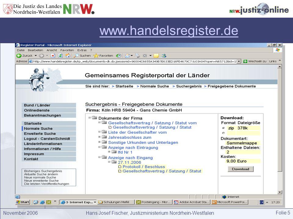 November 2006Hans Josef Fischer, Justizministerium Nordrhein-Westfalen Folie 6 Ziele der Registerreform Beschleunigung des Registerverfahrens durch strukturierte elektronische Geschäftsabläufe.