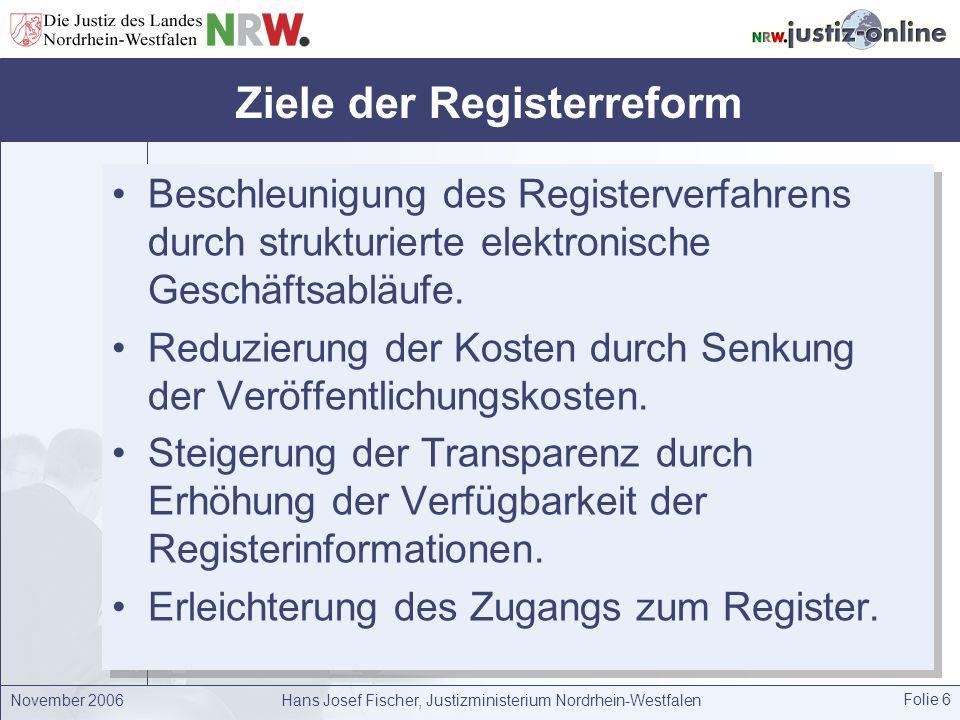 November 2006Hans Josef Fischer, Justizministerium Nordrhein-Westfalen Folie 6 Ziele der Registerreform Beschleunigung des Registerverfahrens durch st