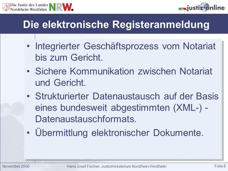 November 2006Hans Josef Fischer, Justizministerium Nordrhein-Westfalen Folie 8 Die elektronische Registeranmeldung Integrierter Geschäftsprozess vom N