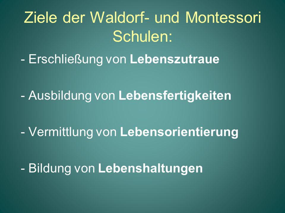 Ziele der Waldorf- und Montessori Schulen: - Erschließung von Lebenszutraue - Ausbildung von Lebensfertigkeiten - Vermittlung von Lebensorientierung -