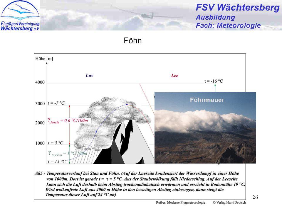 Günter Bertsch26 FSV Wächtersberg Ausbildung Fach: Meteorologie Föhn Föhnmauer