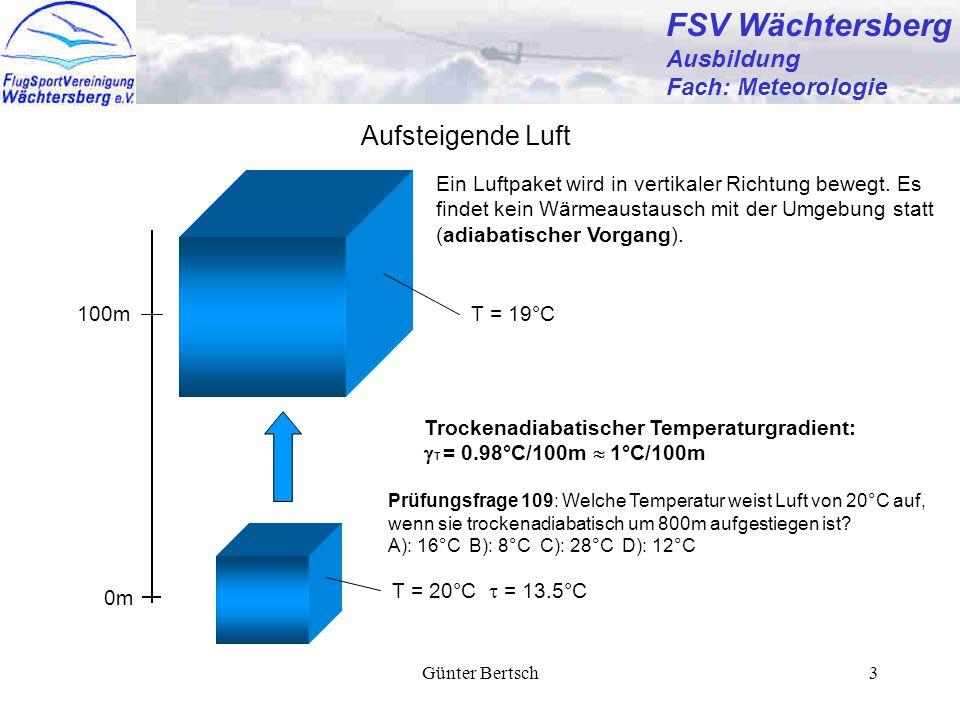 Günter Bertsch3 FSV Wächtersberg Ausbildung Fach: Meteorologie Aufsteigende Luft Ein Luftpaket wird in vertikaler Richtung bewegt. Es findet kein Wärm