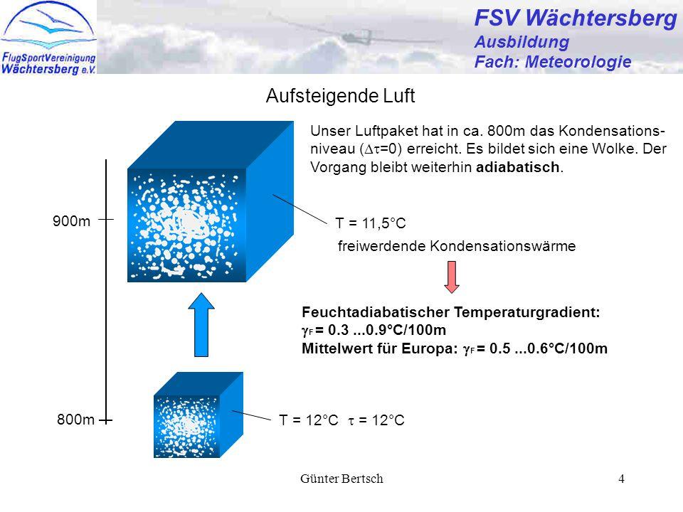 Günter Bertsch4 FSV Wächtersberg Ausbildung Fach: Meteorologie Aufsteigende Luft Unser Luftpaket hat in ca. 800m das Kondensations- niveau (  =0) er