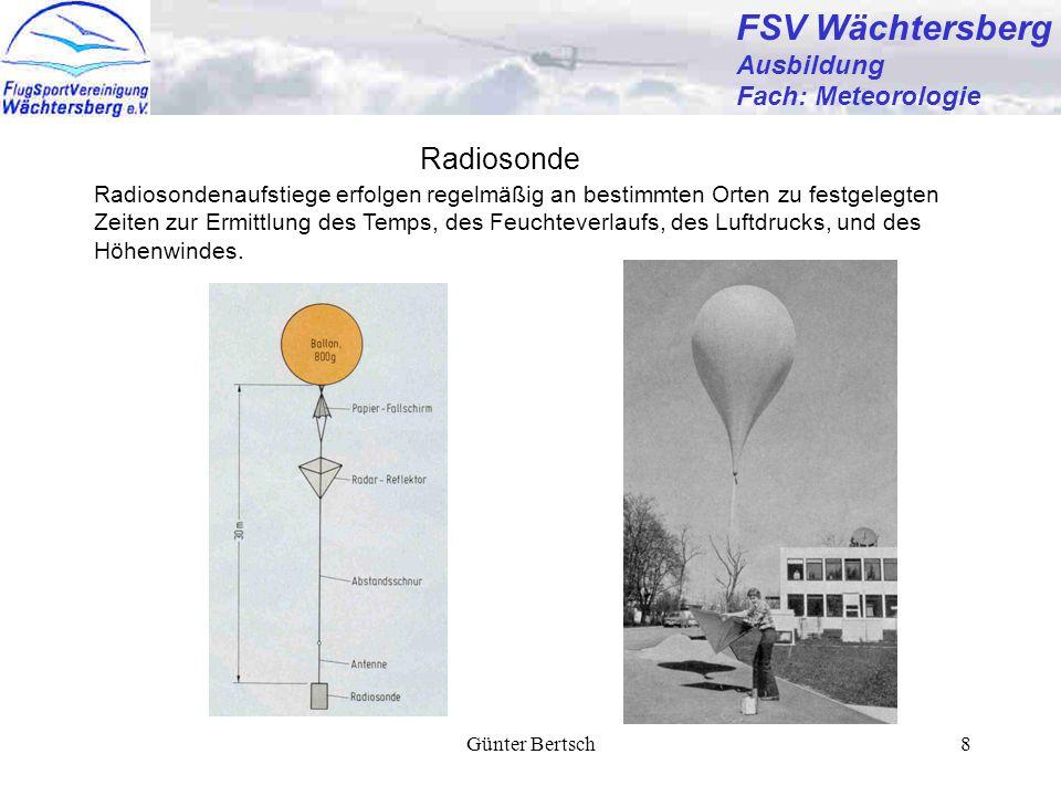 Günter Bertsch8 FSV Wächtersberg Ausbildung Fach: Meteorologie Radiosonde Radiosondenaufstiege erfolgen regelmäßig an bestimmten Orten zu festgelegten