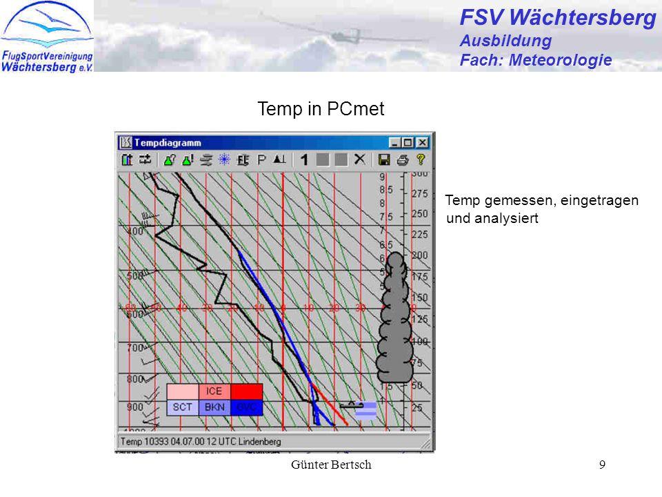 Günter Bertsch9 FSV Wächtersberg Ausbildung Fach: Meteorologie Temp in PCmet Temp gemessen, eingetragen und analysiert