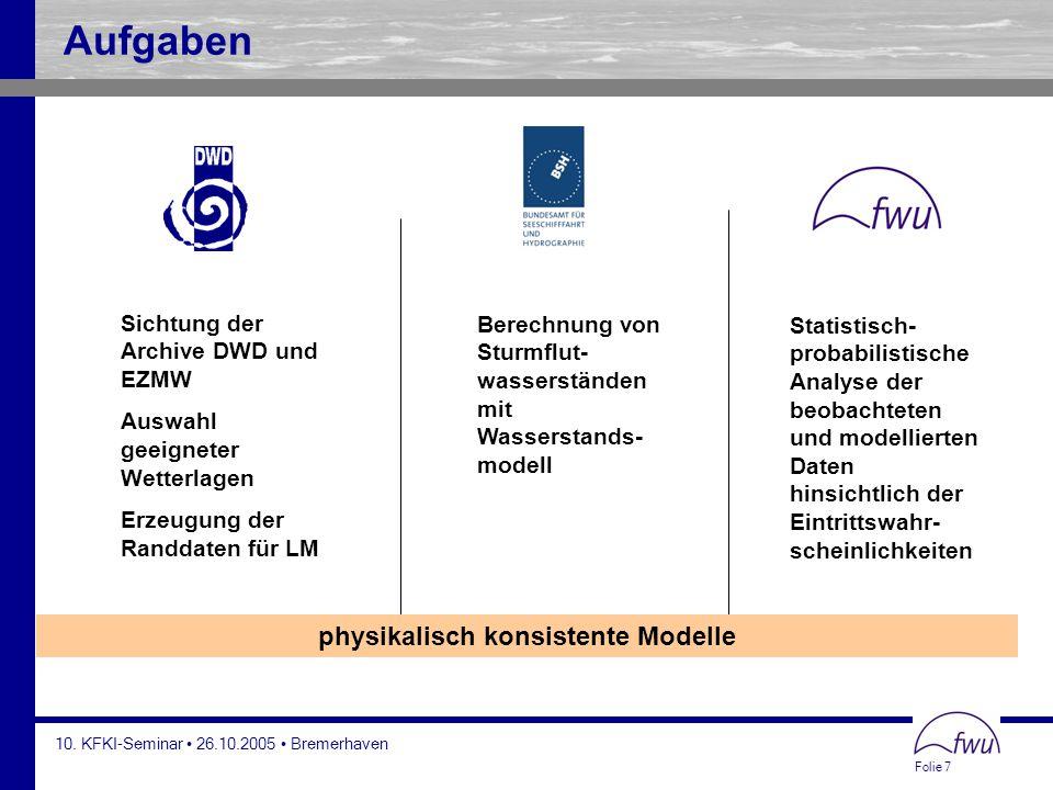 Folie 7 10. KFKI-Seminar 26.10.2005 Bremerhaven Sichtung der Archive DWD und EZMW Auswahl geeigneter Wetterlagen Erzeugung der Randdaten für LM Berech