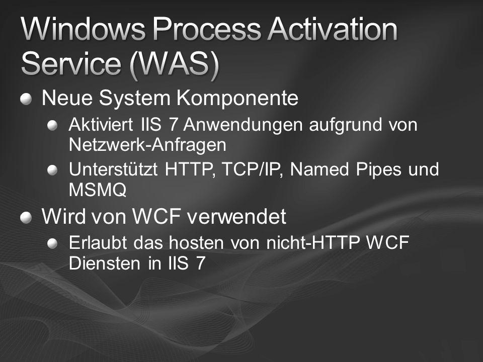 Neue System Komponente Aktiviert IIS 7 Anwendungen aufgrund von Netzwerk-Anfragen Unterstützt HTTP, TCP/IP, Named Pipes und MSMQ Wird von WCF verwendet Erlaubt das hosten von nicht-HTTP WCF Diensten in IIS 7