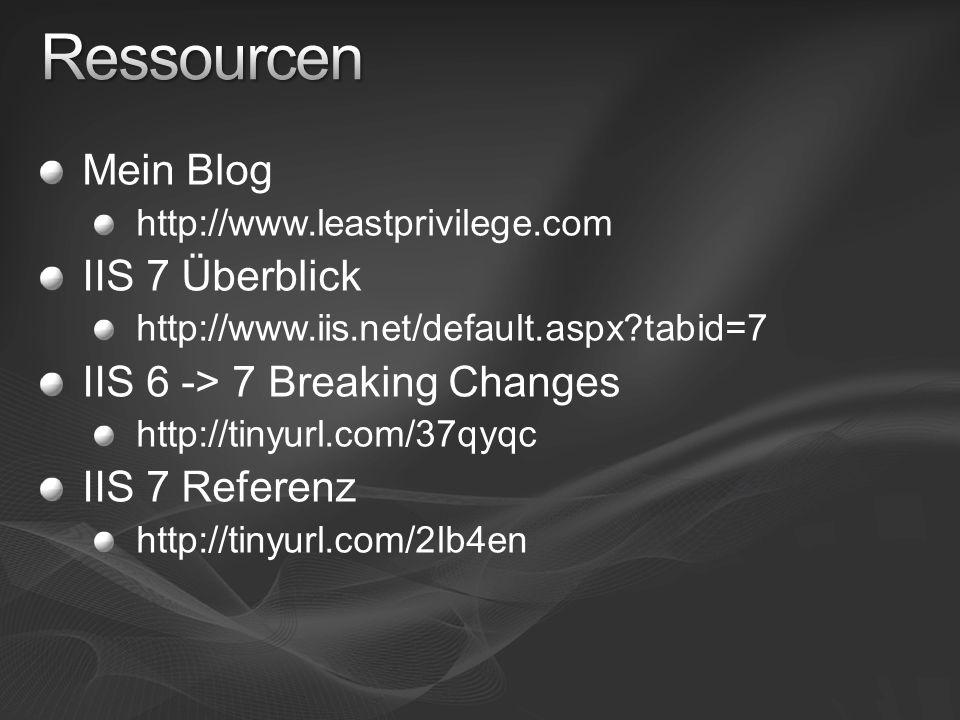 Mein Blog http://www.leastprivilege.com IIS 7 Überblick http://www.iis.net/default.aspx?tabid=7 IIS 6 -> 7 Breaking Changes http://tinyurl.com/37qyqc IIS 7 Referenz http://tinyurl.com/2lb4en