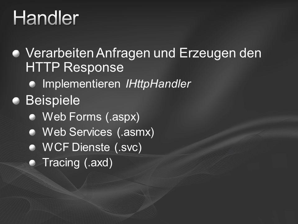 Verarbeiten Anfragen und Erzeugen den HTTP Response Implementieren IHttpHandler Beispiele Web Forms (.aspx) Web Services (.asmx) WCF Dienste (.svc) Tracing (.axd)