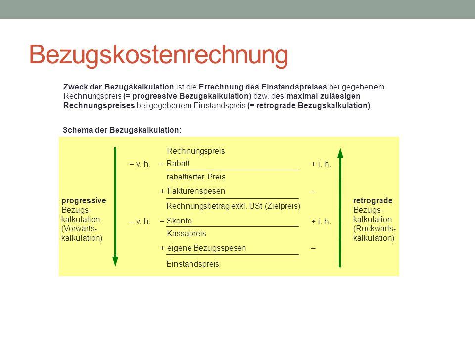 Bezugskostenrechnung Rechnungspreis Zweck der Bezugskalkulation ist die Errechnung des Einstandspreises bei gegebenem Rechnungspreis (= progressive Be