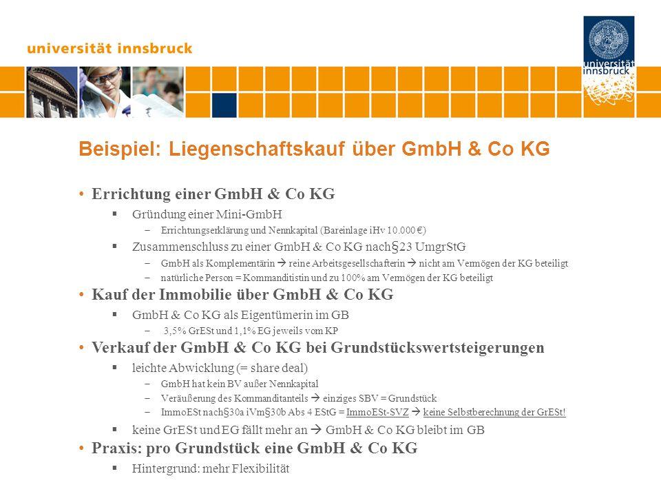Beispiel: Liegenschaftskauf über GmbH & Co KG Errichtung einer GmbH & Co KG  Gründung einer Mini-GmbH  Errichtungserklärung und Nennkapital (Bareinl
