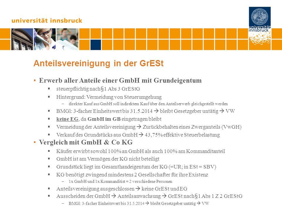 Anteilsvereinigung in der GrESt Erwerb aller Anteile einer GmbH mit Grundeigentum  steuerpflichtig nach§1 Abs 3 GrEStG  Hintergrund: Vermeidung von