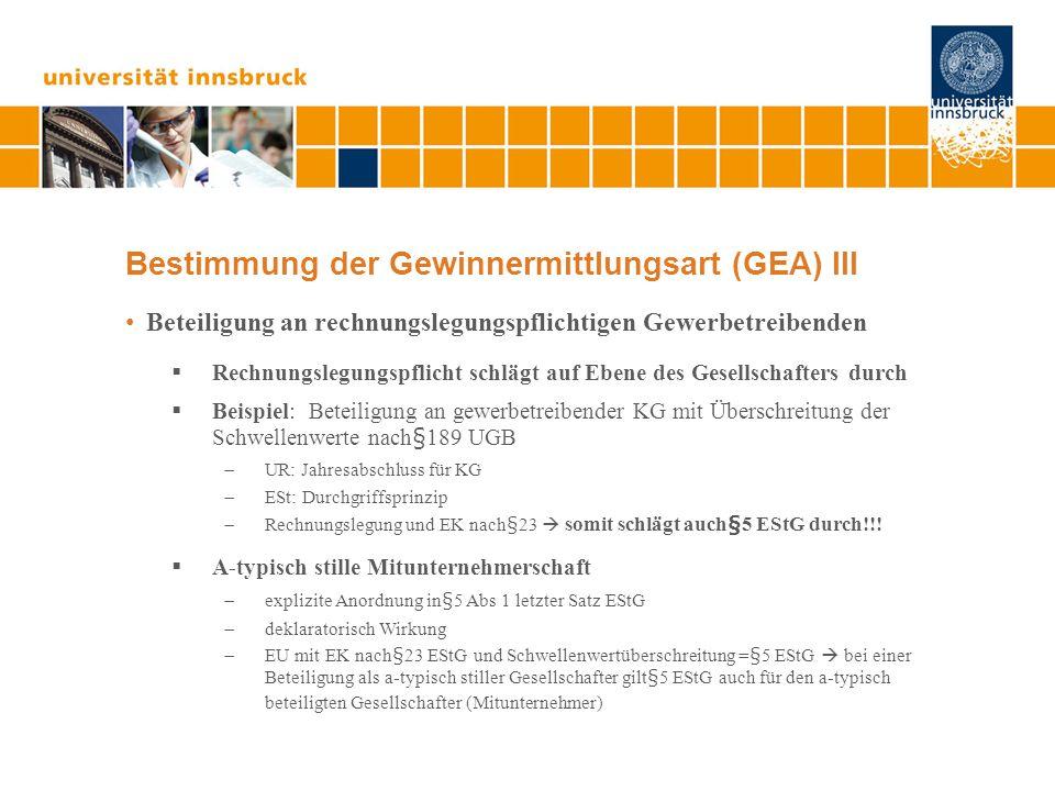 Bestimmung der Gewinnermittlungsart (GEA) III Beteiligung an rechnungslegungspflichtigen Gewerbetreibenden  Rechnungslegungspflicht schlägt auf Ebene