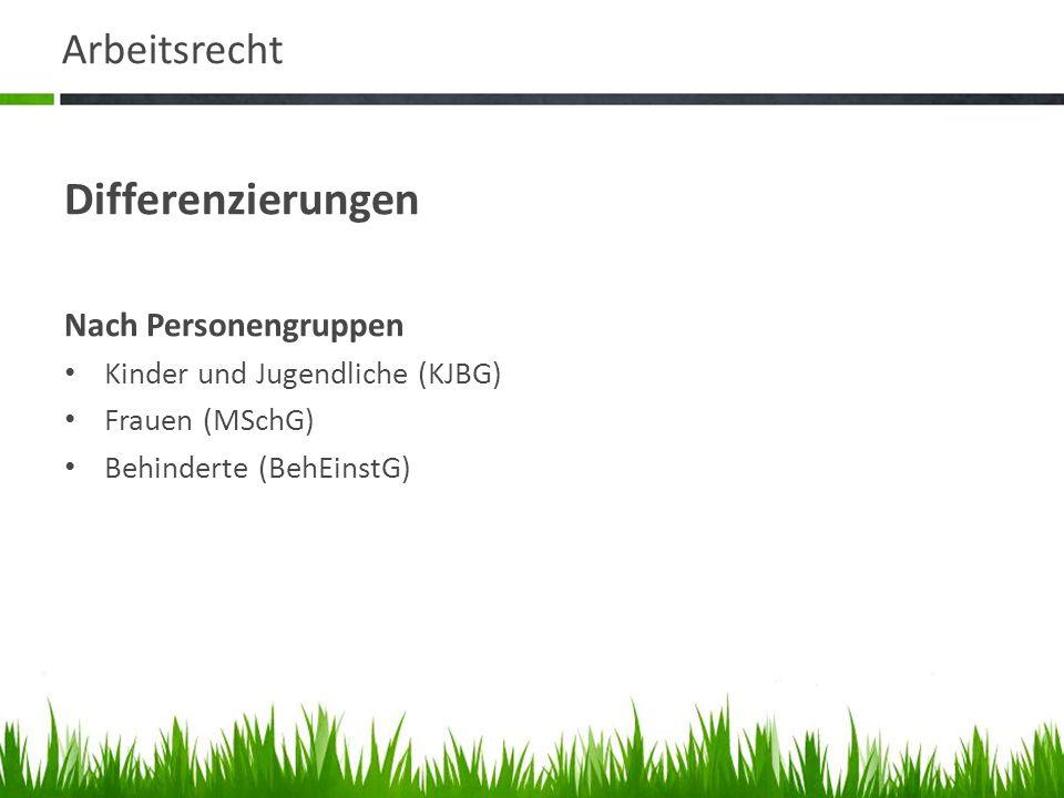 Arbeitsrecht Differenzierungen Nach Personengruppen Kinder und Jugendliche (KJBG) Frauen (MSchG) Behinderte (BehEinstG)
