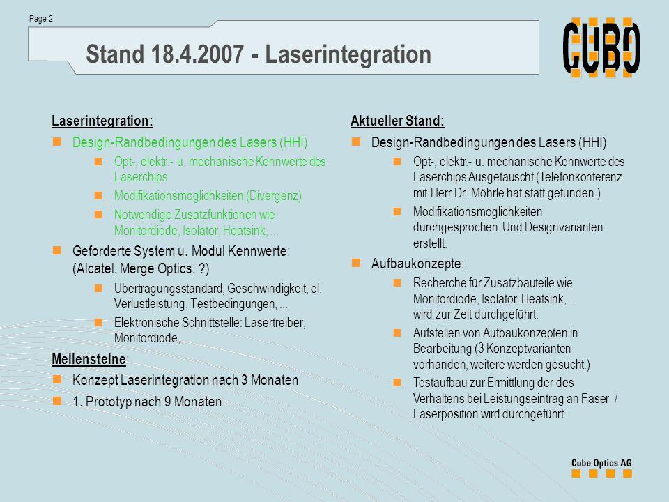 Page 2 Stand 18.4.2007 - Laserintegration Laserintegration: Design-Randbedingungen des Lasers (HHI) Opt-, elektr.- u.
