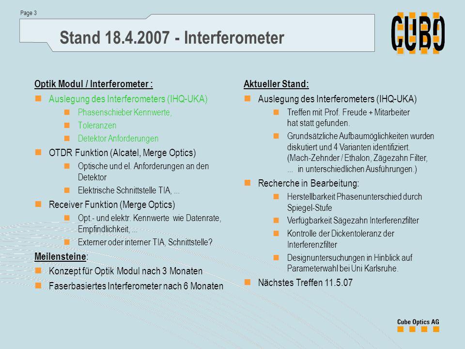 Page 3 Stand 18.4.2007 - Interferometer Aktueller Stand: Auslegung des Interferometers (IHQ-UKA) Treffen mit Prof. Freude + Mitarbeiter hat statt gefu