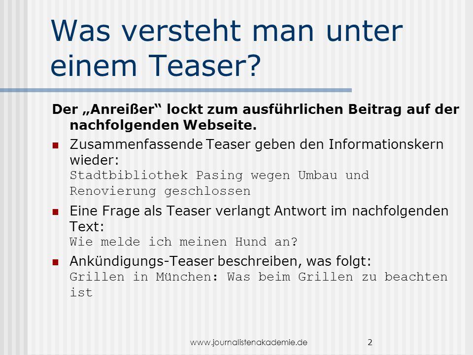 www.journalistenakademie.de 13...klare Handlungs- anleitung Fordern Sie in direkter Ansprache zum Handeln auf: