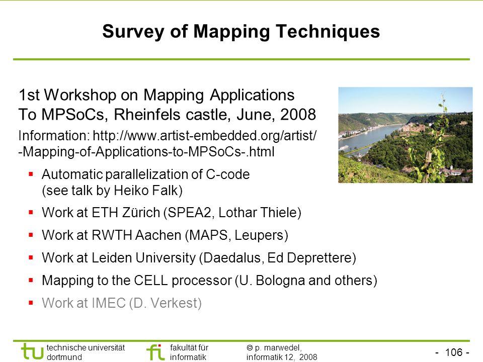- 106 - technische universität dortmund fakultät für informatik  p. marwedel, informatik 12, 2008 TU Dortmund Survey of Mapping Techniques 1st Worksh