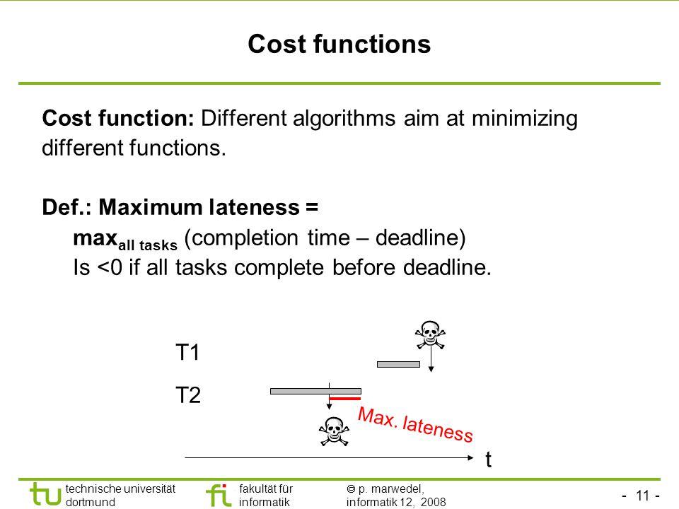 - 11 - technische universität dortmund fakultät für informatik  p. marwedel, informatik 12, 2008 TU Dortmund Cost functions Cost function: Different