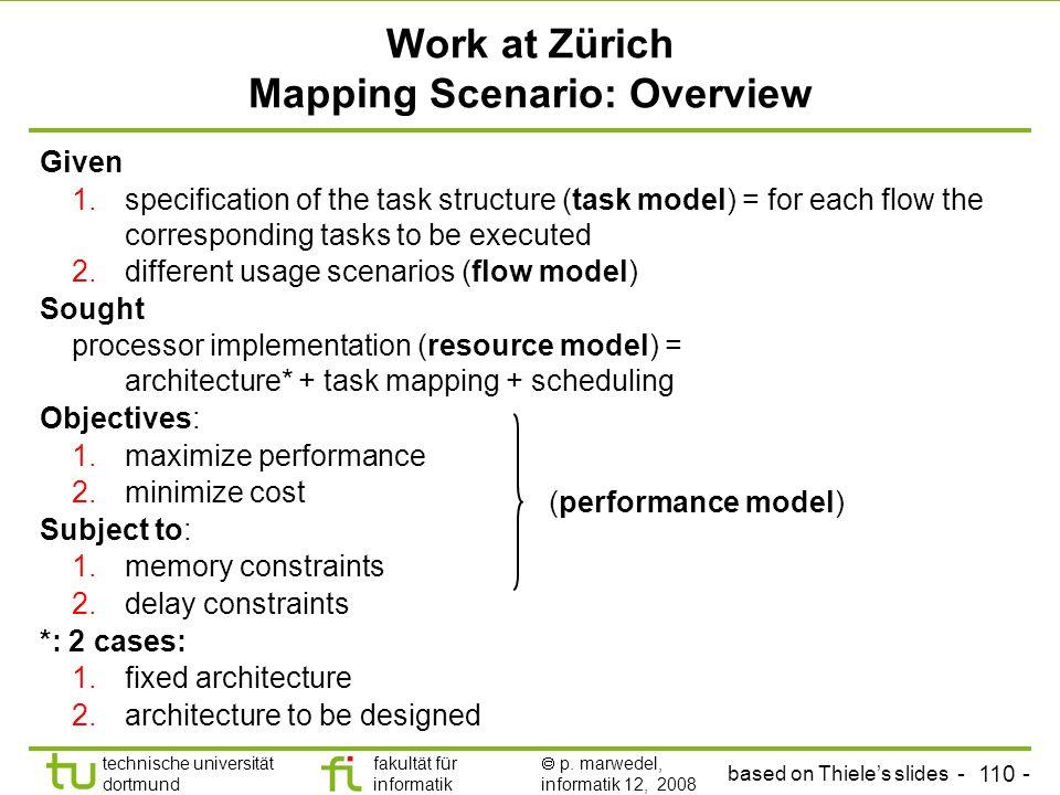 - 110 - technische universität dortmund fakultät für informatik  p. marwedel, informatik 12, 2008 TU Dortmund Work at Zürich Mapping Scenario: Overvi