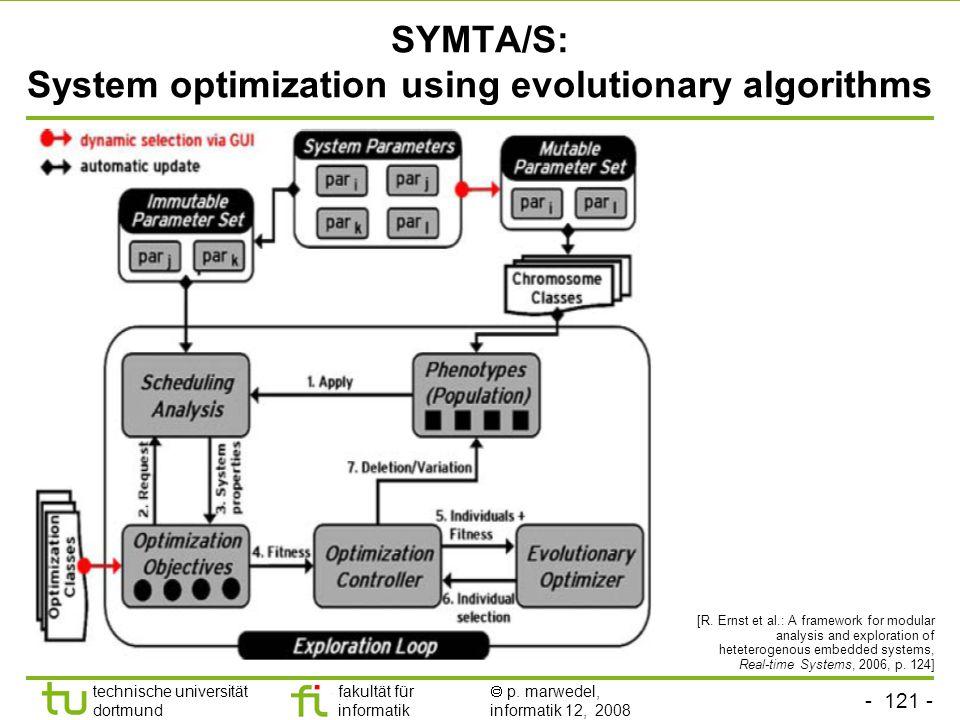 - 121 - technische universität dortmund fakultät für informatik  p. marwedel, informatik 12, 2008 TU Dortmund SYMTA/S: System optimization using evol