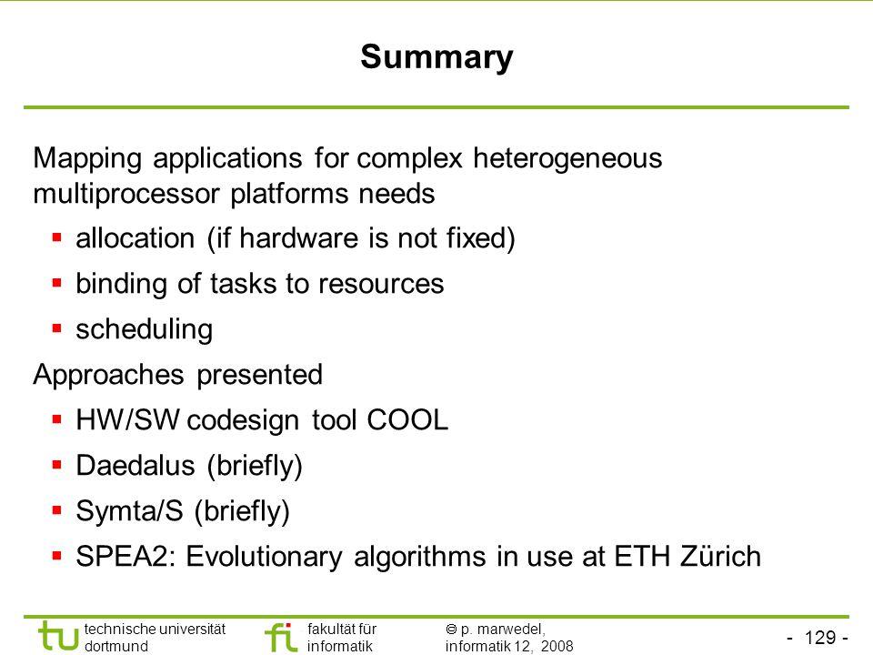 - 129 - technische universität dortmund fakultät für informatik  p. marwedel, informatik 12, 2008 TU Dortmund Summary Mapping applications for comple