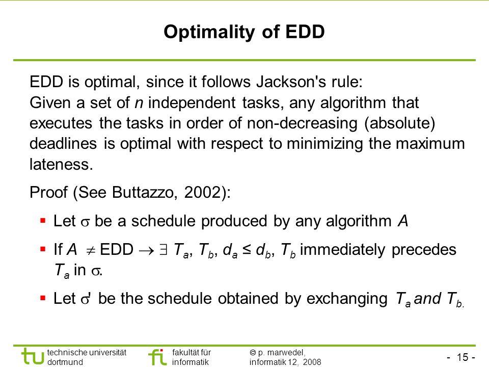 - 15 - technische universität dortmund fakultät für informatik  p. marwedel, informatik 12, 2008 TU Dortmund Optimality of EDD EDD is optimal, since