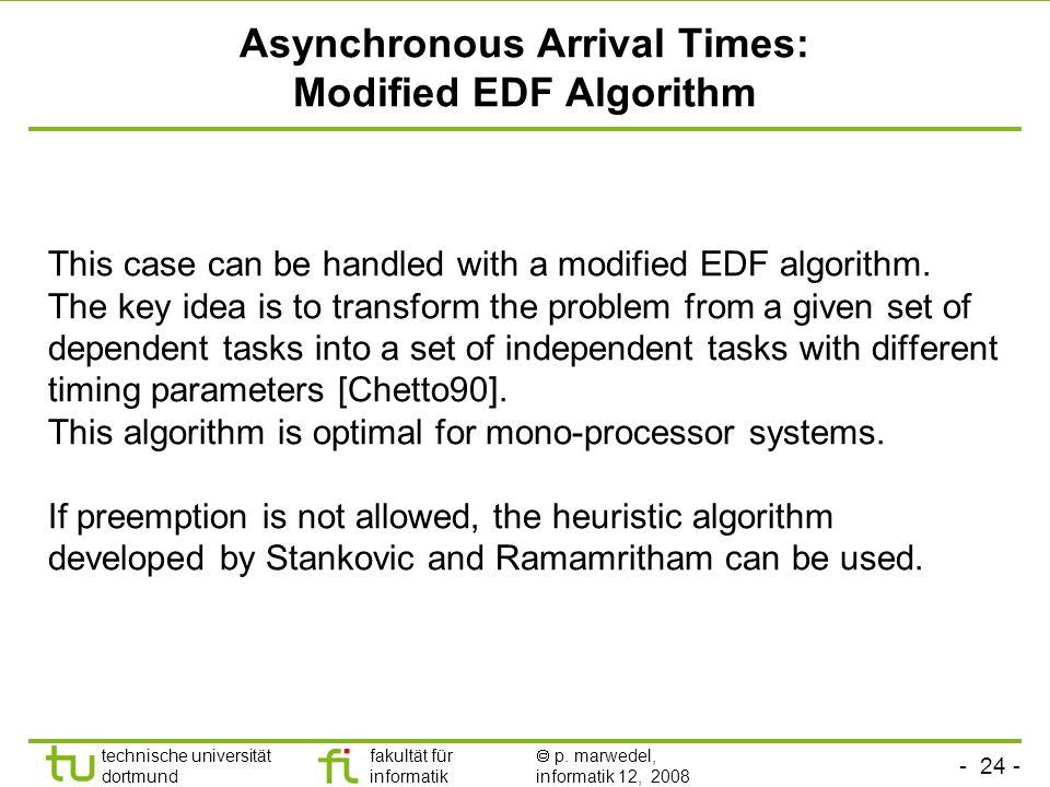 - 24 - technische universität dortmund fakultät für informatik  p. marwedel, informatik 12, 2008 TU Dortmund Asynchronous Arrival Times: Modified EDF