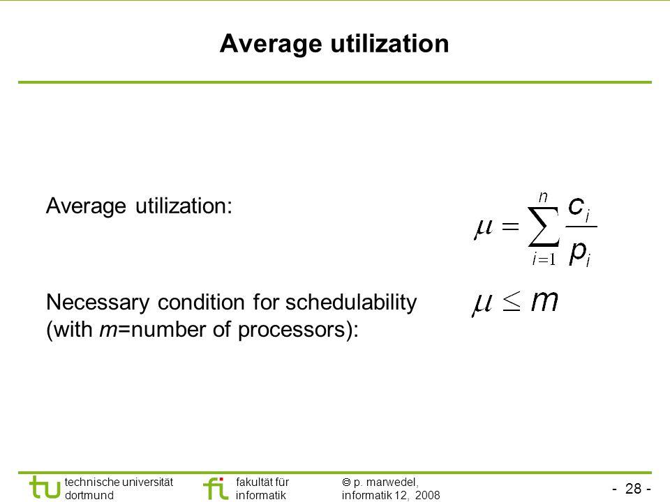 - 28 - technische universität dortmund fakultät für informatik  p. marwedel, informatik 12, 2008 TU Dortmund Average utilization Average utilization: