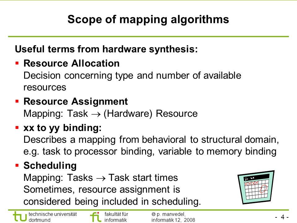 - 4 - technische universität dortmund fakultät für informatik  p. marwedel, informatik 12, 2008 TU Dortmund Scope of mapping algorithms Useful terms
