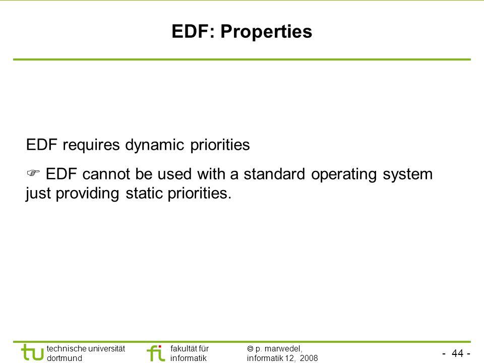 - 44 - technische universität dortmund fakultät für informatik  p. marwedel, informatik 12, 2008 TU Dortmund EDF: Properties EDF requires dynamic pri