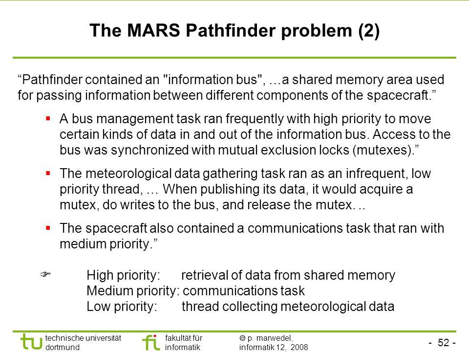 """- 52 - technische universität dortmund fakultät für informatik  p. marwedel, informatik 12, 2008 TU Dortmund The MARS Pathfinder problem (2) """"Pathfin"""