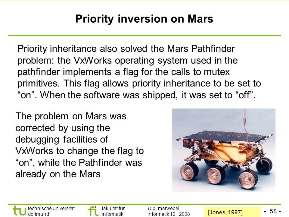 - 58 - technische universität dortmund fakultät für informatik  p. marwedel, informatik 12, 2008 TU Dortmund Priority inversion on Mars Priority inhe