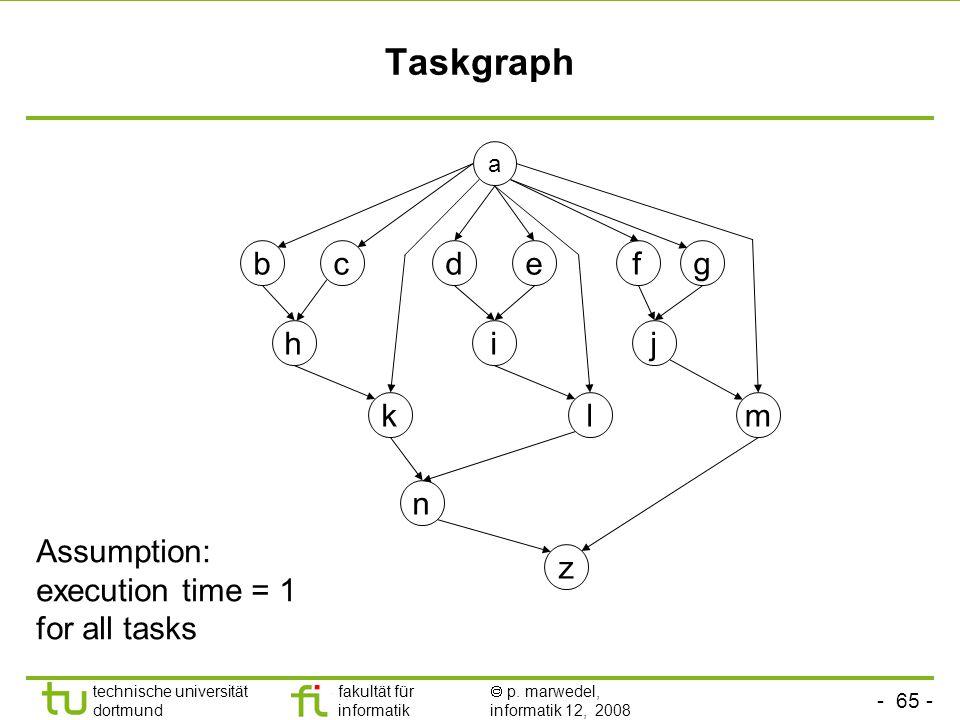 - 65 - technische universität dortmund fakultät für informatik  p. marwedel, informatik 12, 2008 TU Dortmund Taskgraph Assumption: execution time = 1