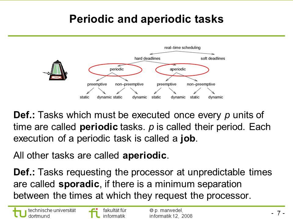 - 7 - technische universität dortmund fakultät für informatik  p. marwedel, informatik 12, 2008 TU Dortmund Periodic and aperiodic tasks Def.: Tasks