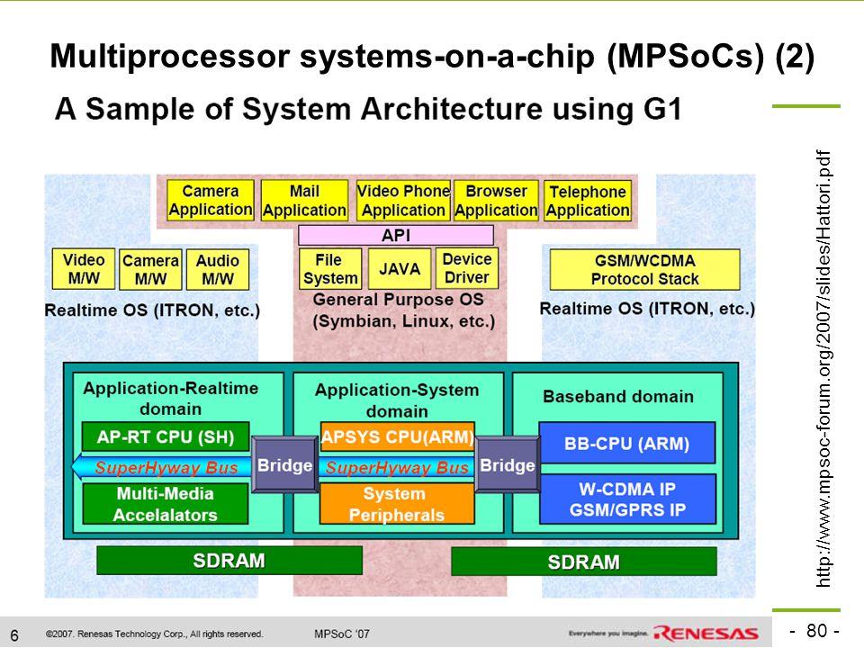 - 80 - technische universität dortmund fakultät für informatik  p. marwedel, informatik 12, 2008 TU Dortmund Multiprocessor systems-on-a-chip (MPSoCs