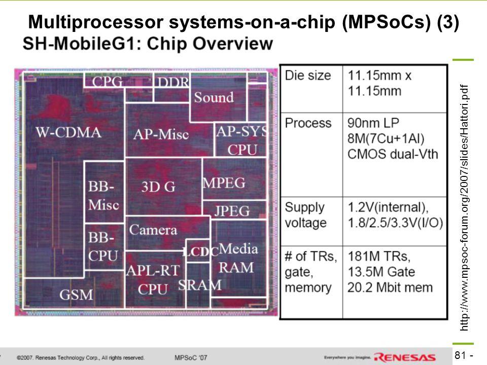 - 81 - technische universität dortmund fakultät für informatik  p. marwedel, informatik 12, 2008 TU Dortmund Multiprocessor systems-on-a-chip (MPSoCs