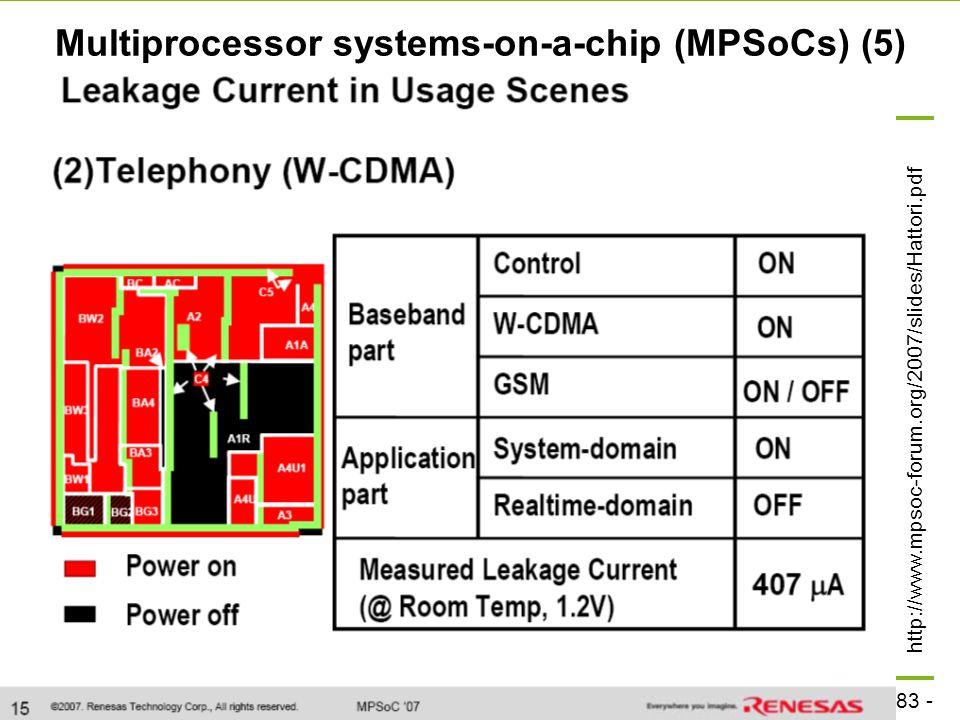 - 83 - technische universität dortmund fakultät für informatik  p. marwedel, informatik 12, 2008 TU Dortmund Multiprocessor systems-on-a-chip (MPSoCs