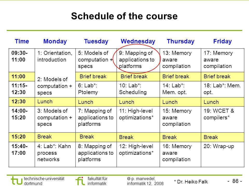 - 86 - technische universität dortmund fakultät für informatik  p. marwedel, informatik 12, 2008 TU Dortmund Schedule of the course TimeMondayTuesday