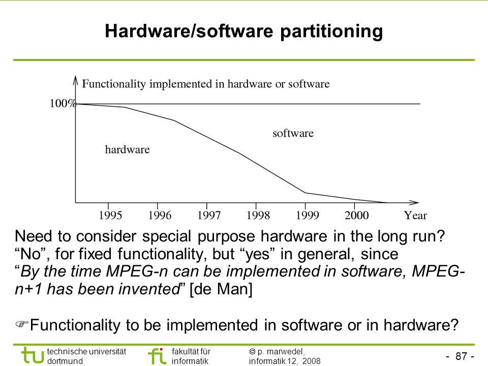 - 87 - technische universität dortmund fakultät für informatik  p. marwedel, informatik 12, 2008 TU Dortmund Hardware/software partitioning  Functio