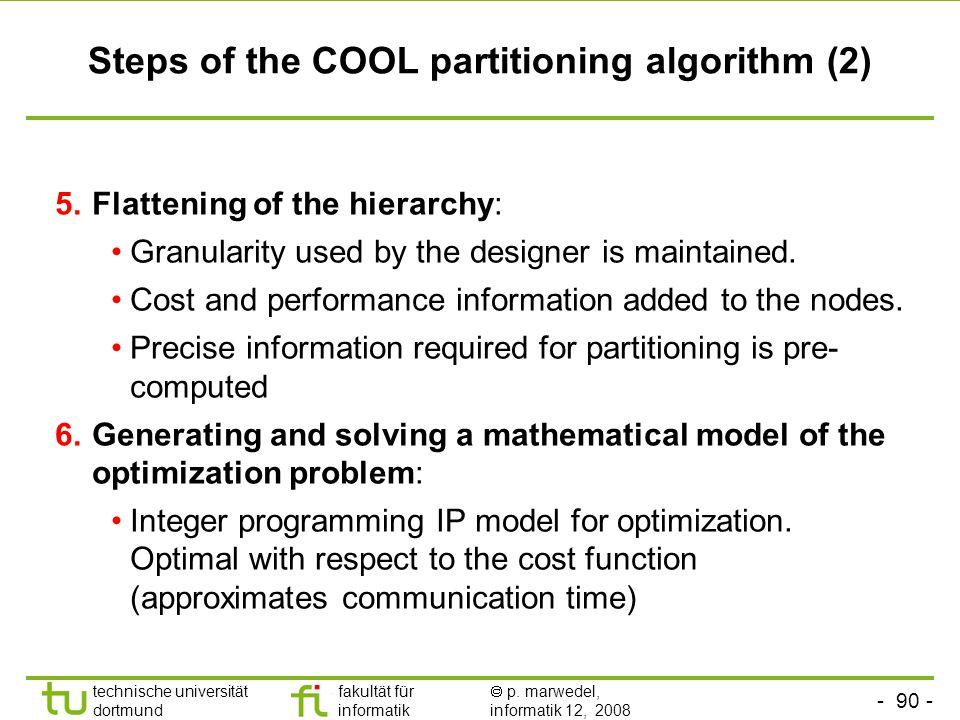 - 90 - technische universität dortmund fakultät für informatik  p. marwedel, informatik 12, 2008 TU Dortmund Steps of the COOL partitioning algorithm