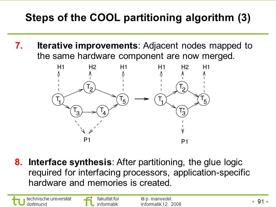 - 91 - technische universität dortmund fakultät für informatik  p. marwedel, informatik 12, 2008 TU Dortmund Steps of the COOL partitioning algorithm
