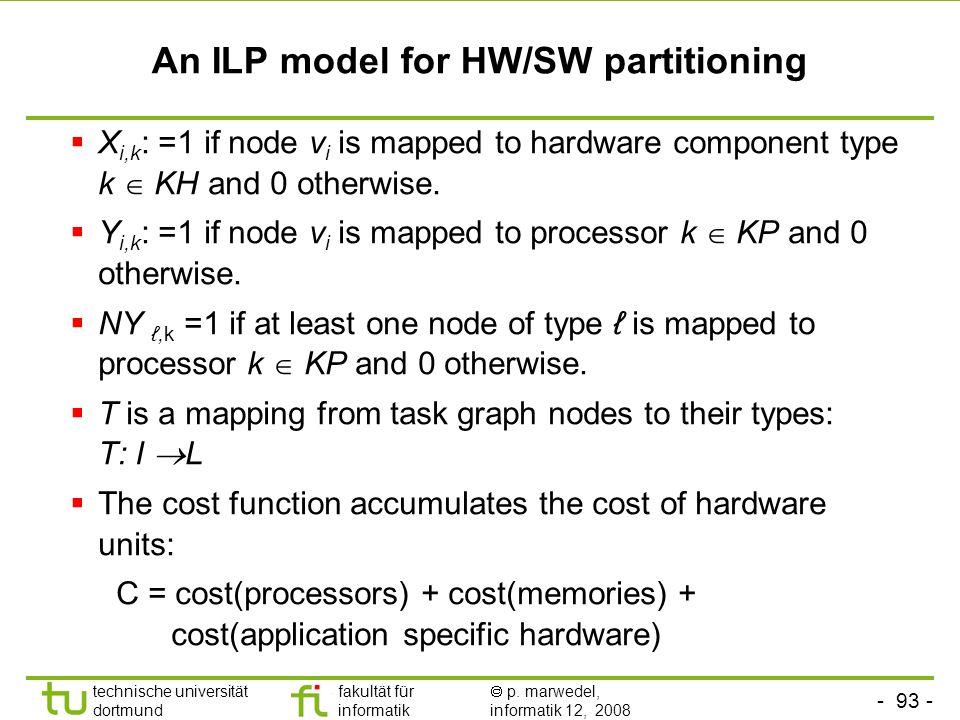 - 93 - technische universität dortmund fakultät für informatik  p. marwedel, informatik 12, 2008 TU Dortmund An ILP model for HW/SW partitioning  X