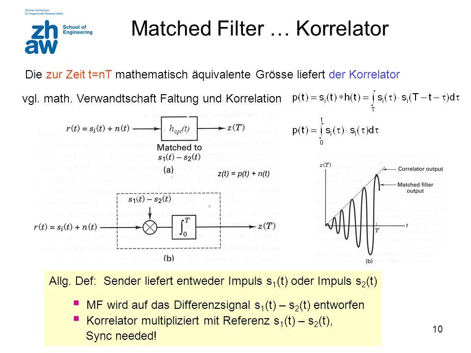 10 Matched Filter … Korrelator Die zur Zeit t=nT mathematisch äquivalente Grösse liefert der Korrelator Allg. Def: Sender liefert entweder Impuls s 1