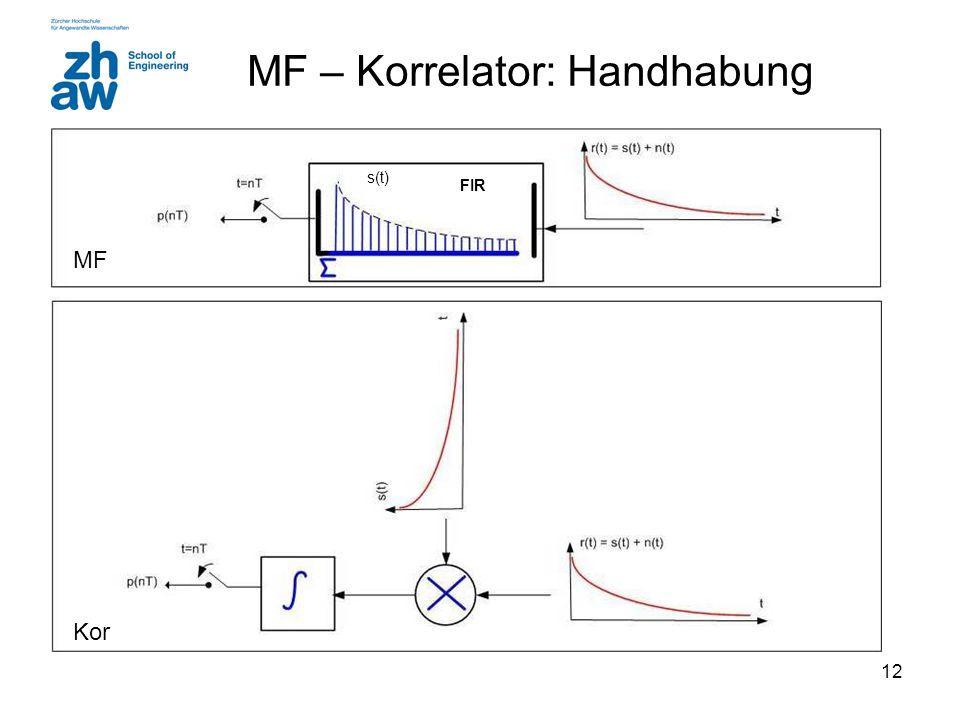 12 MF – Korrelator: Handhabung MF Kor s(t) FIR