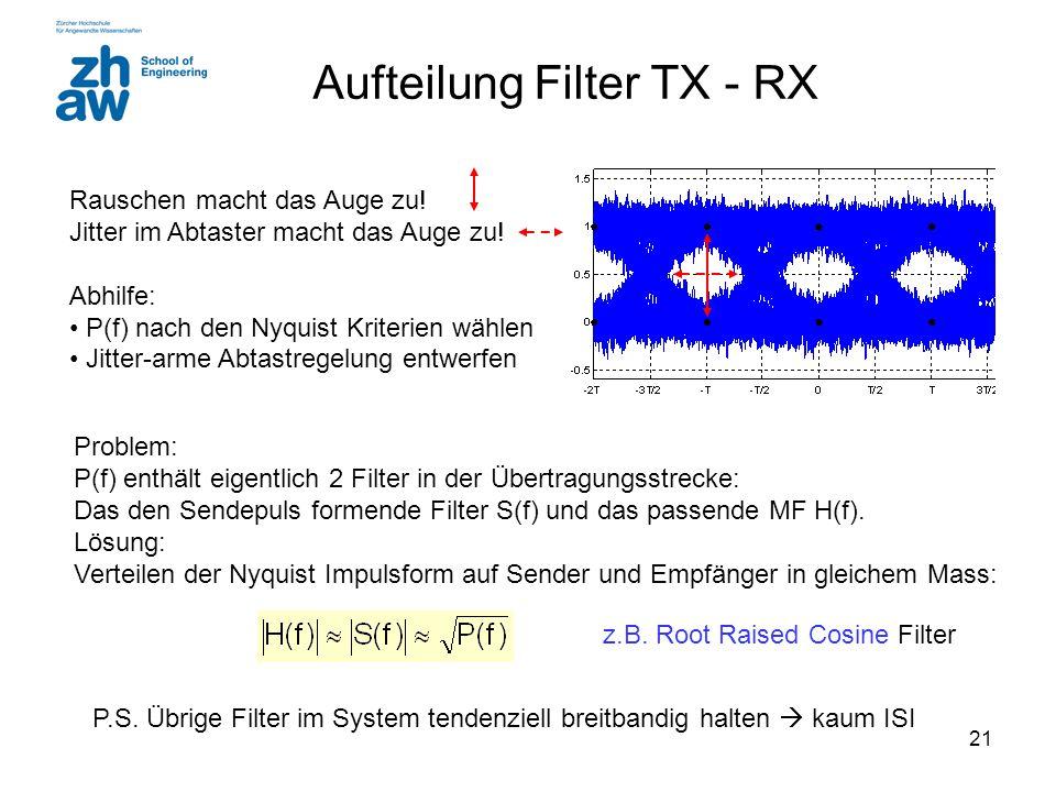 21 Aufteilung Filter TX - RX Rauschen macht das Auge zu! Jitter im Abtaster macht das Auge zu! Abhilfe: P(f) nach den Nyquist Kriterien wählen Jitter-