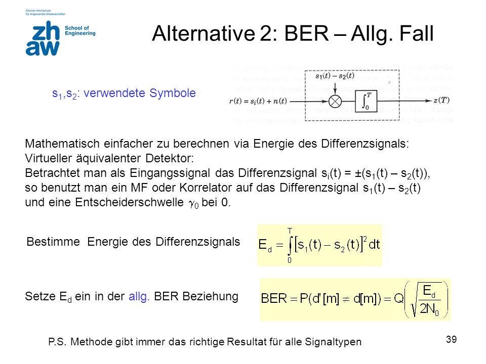 39 Alternative 2: BER – Allg. Fall s 1,s 2 : verwendete Symbole Bestimme Energie des Differenzsignals Setze E d ein in der allg. BER Beziehung P.S. Me